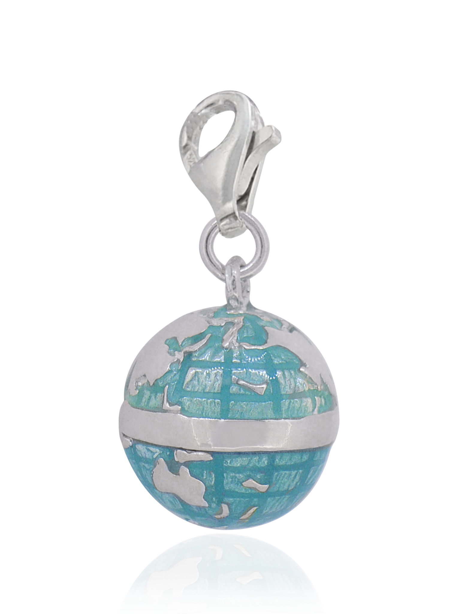 World Globe 3d clip on Charm in Sterling Silver