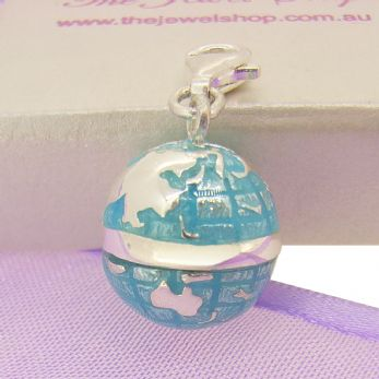 STERLING SILVER MAP WORLD GLOBE CLIP ON CHARM -925-54-983-862