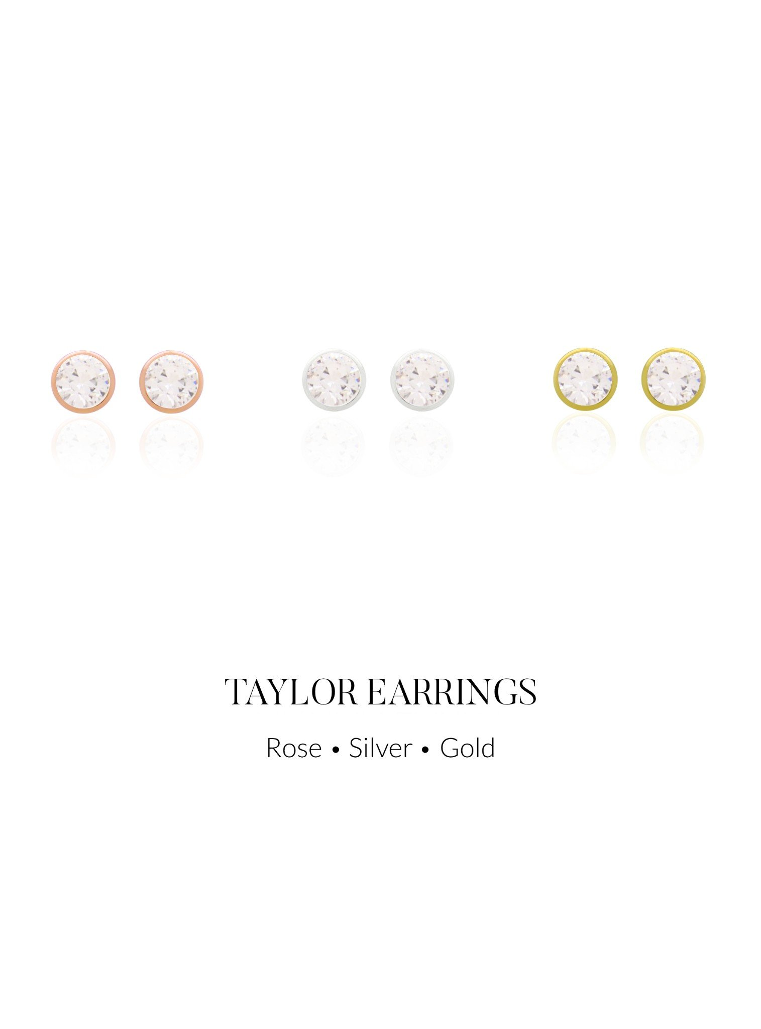 Taylor 3mm CZ Stud Earrings in Rose Gold