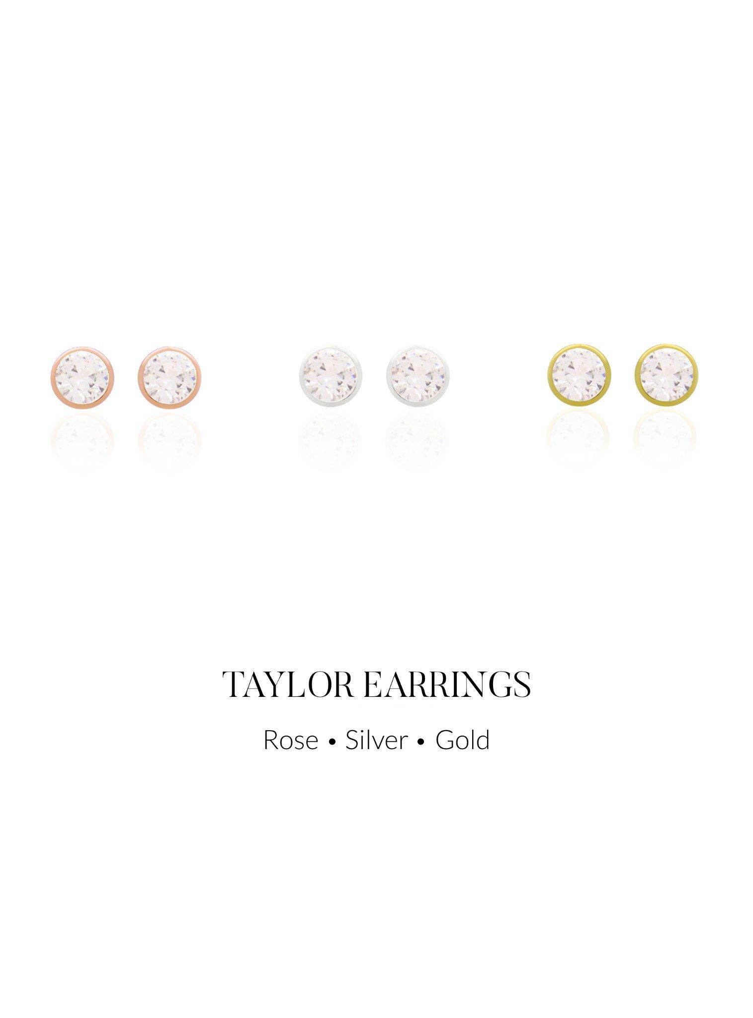Taylor 3mm CZ Stud Earrings in Gold