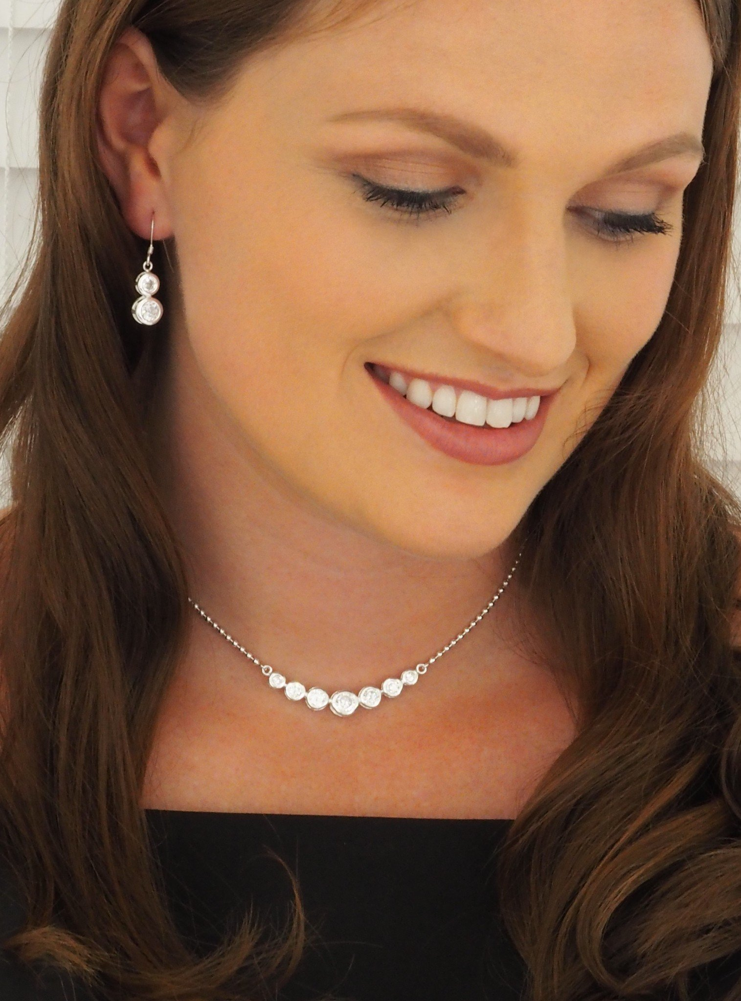Elsa CZ Earrings and Necklace Set in Sterling Silver