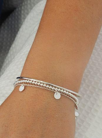 Mini Coin Tag Charm Bracelet in Sterling Silver