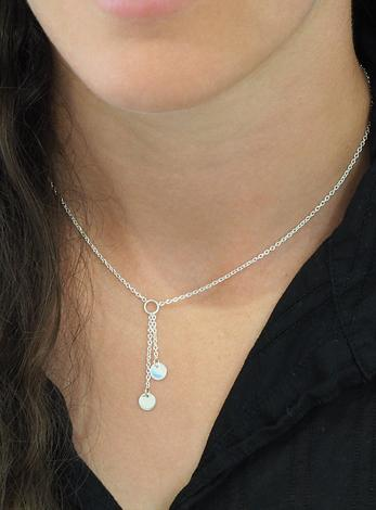 Mini Coin Tag Lariat Necklace in Sterling Silver