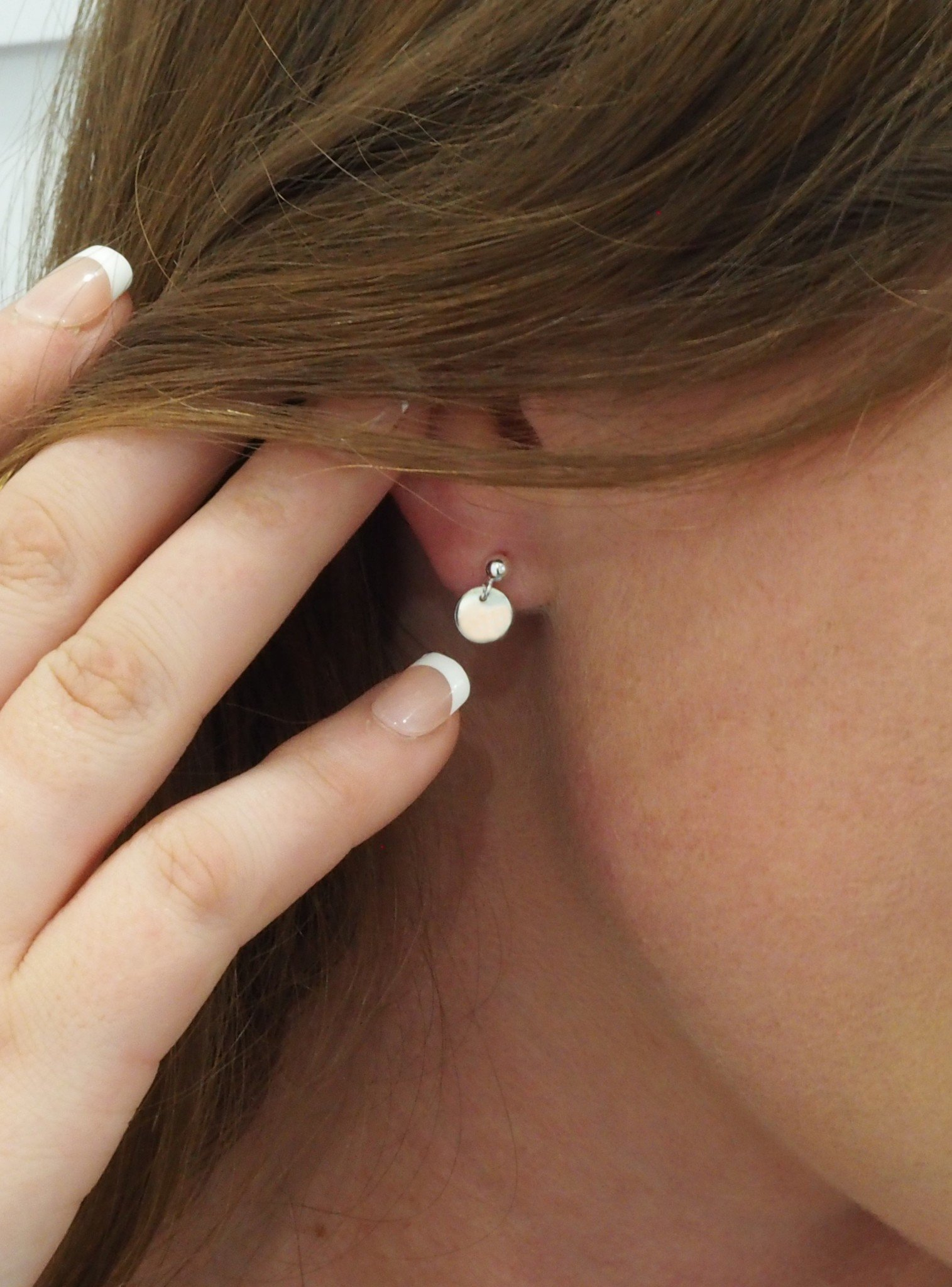 Mini Coin Tag Ball Stud Earrings in Sterling Silver