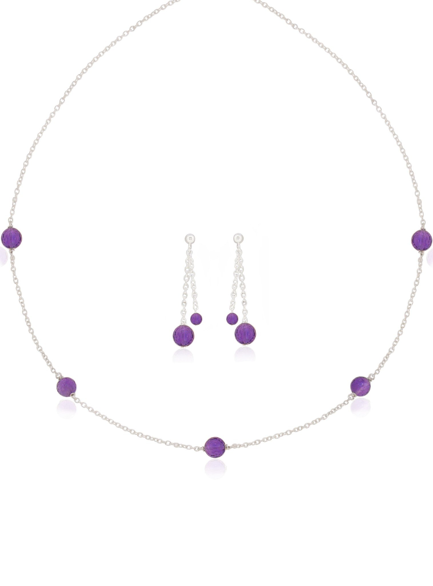 Amethyst Yard Necklace and Earring Set in Sterling Silver