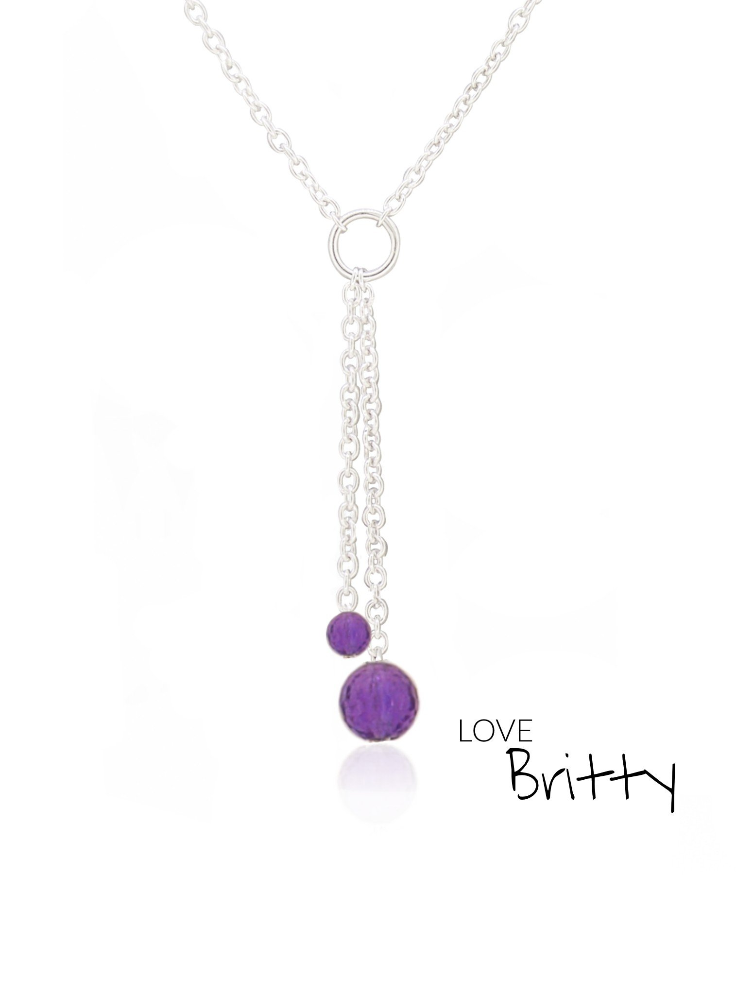 Amethyst Drop Necklace in Sterling Silver