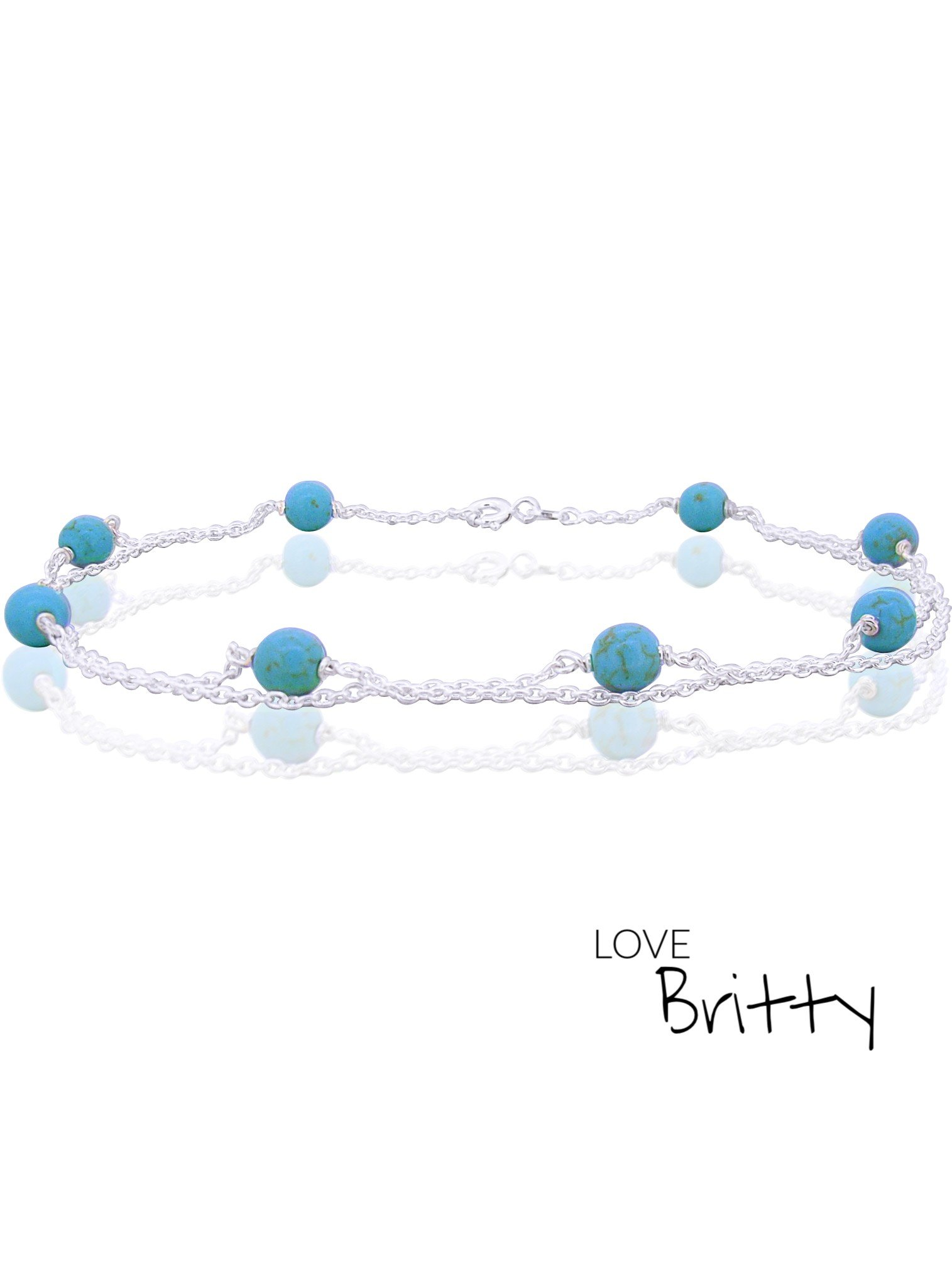 Double Gemstone Anklet in Sterling Silver