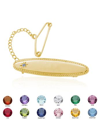 Birthstone Identity Name Baby Brooch in 9ct Gold