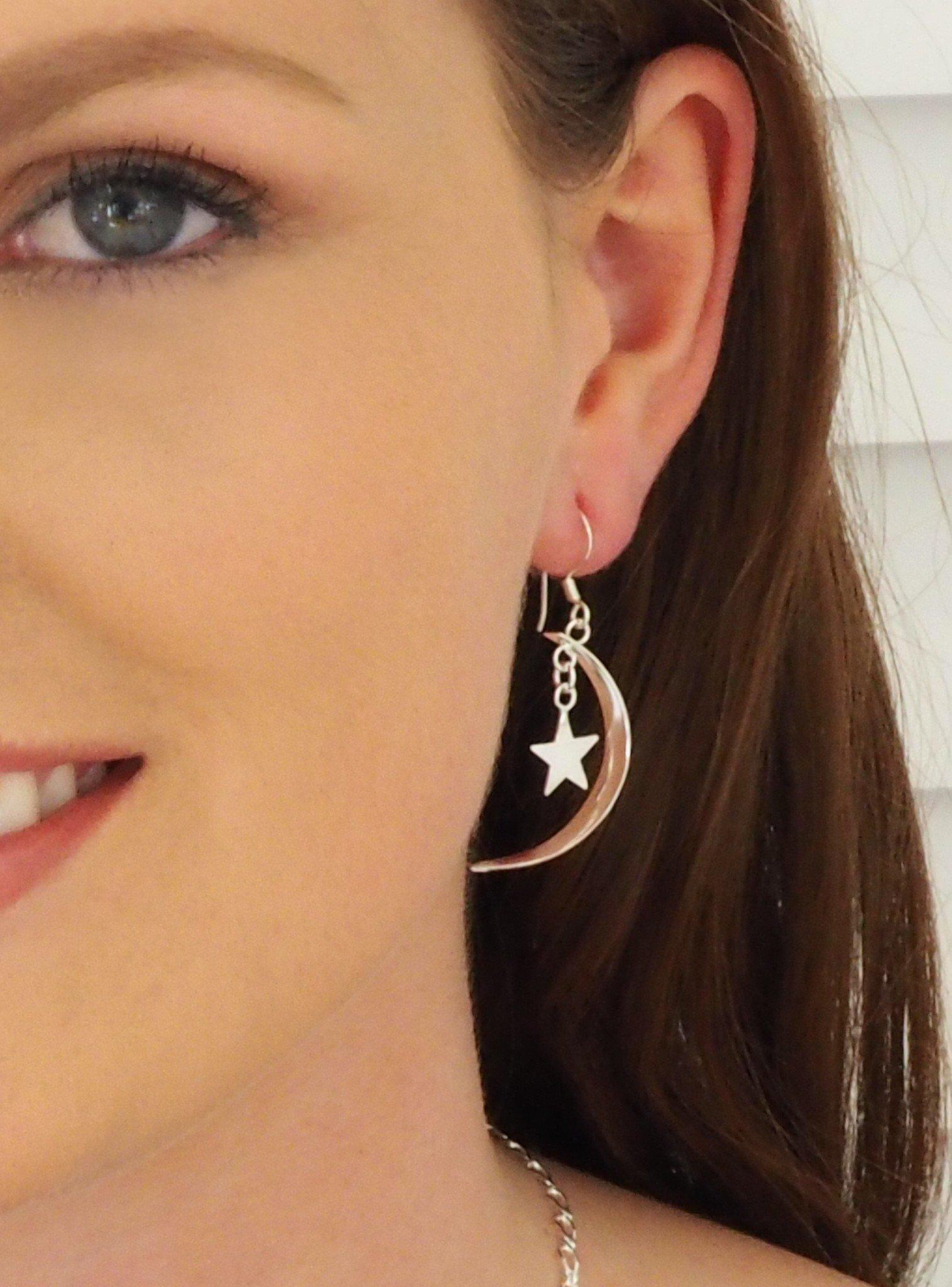 Stars Cresent Moon Earrings in Sterling Silver