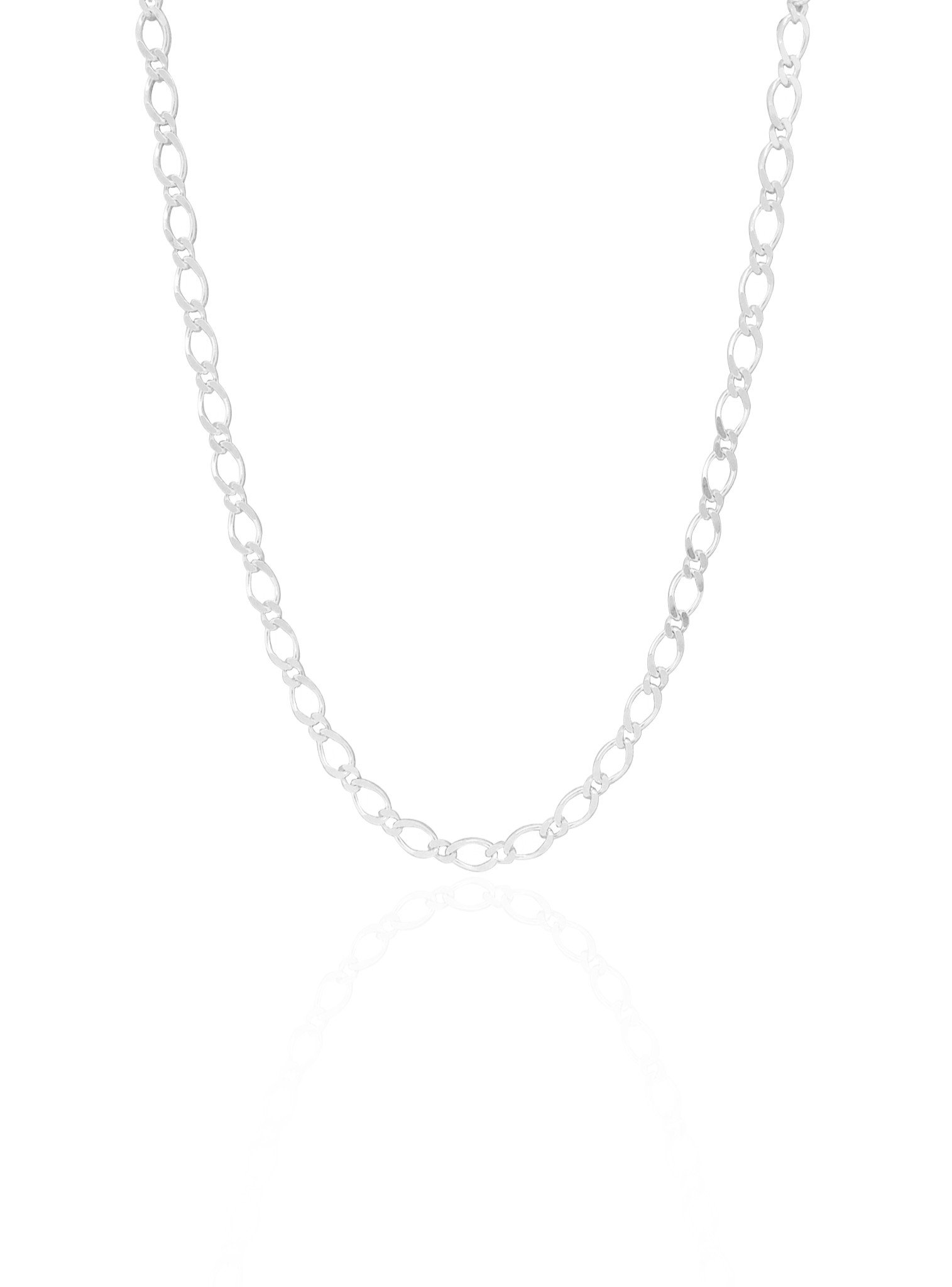 Reagan Curb Figaro Necklace Chain in Sterling Silver
