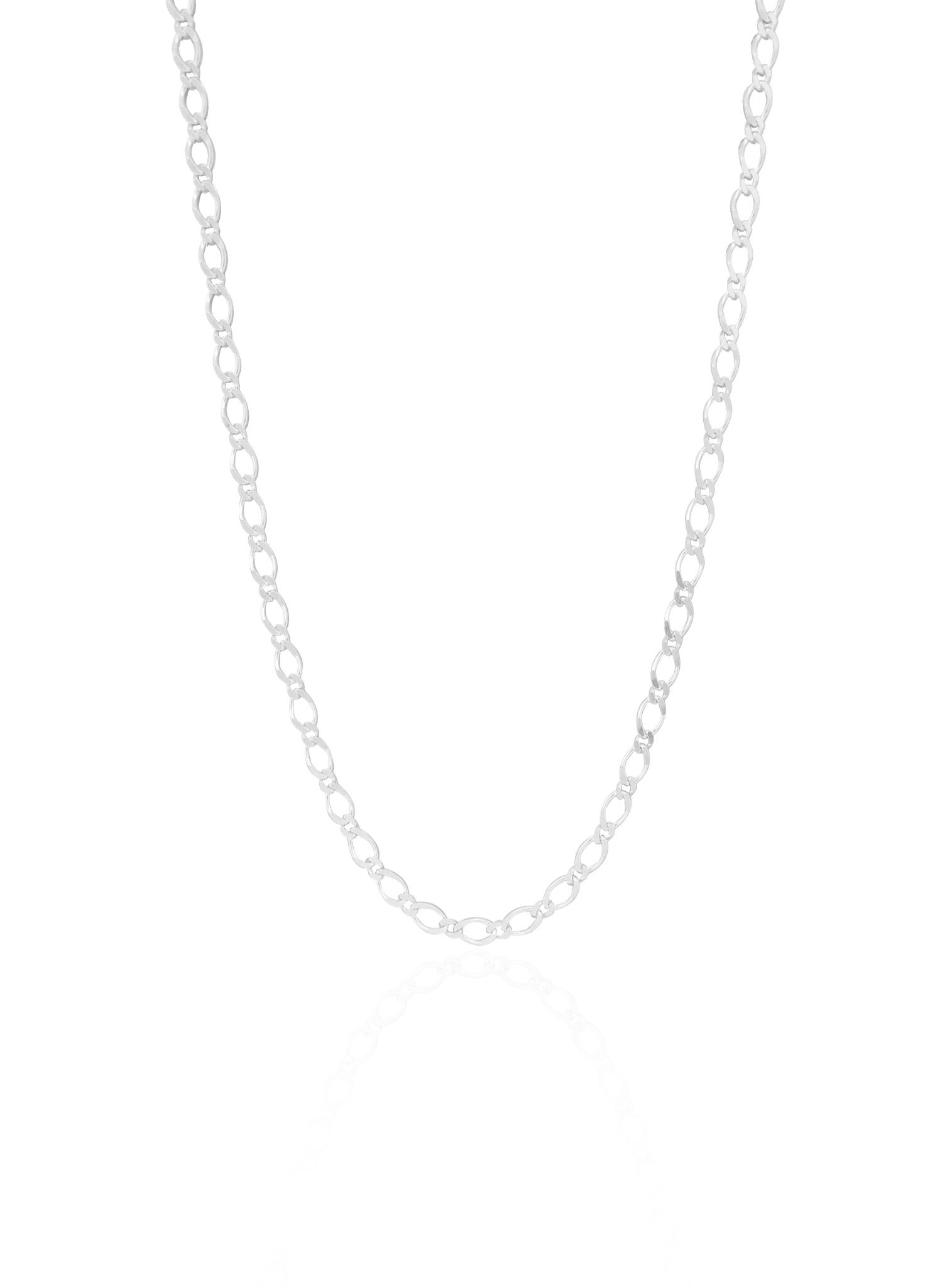 Reagan Small Figaro Necklace Chain in Sterling Silver