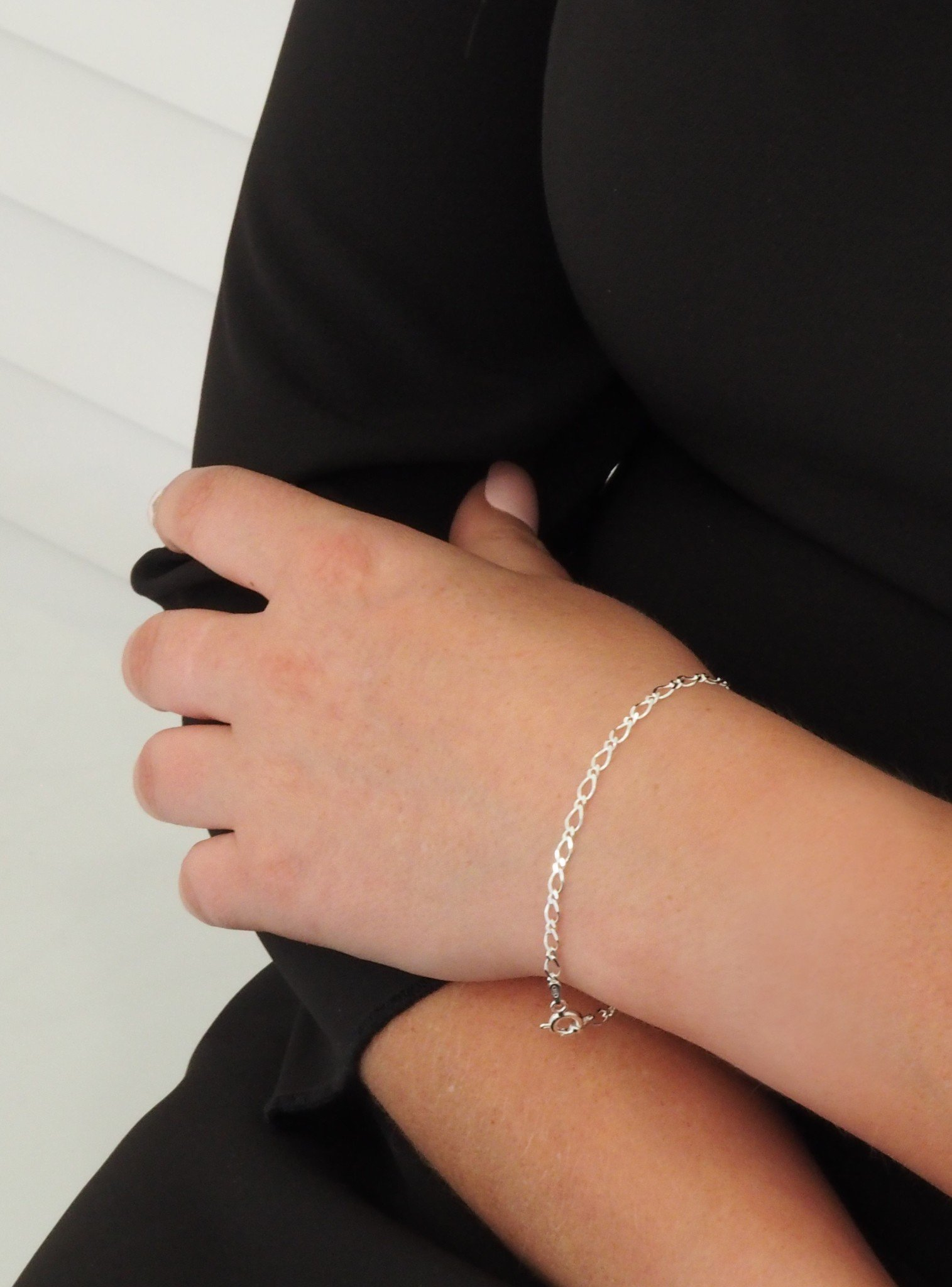 Reagan Curb Figaro Bracelet Chain in Sterling Silver