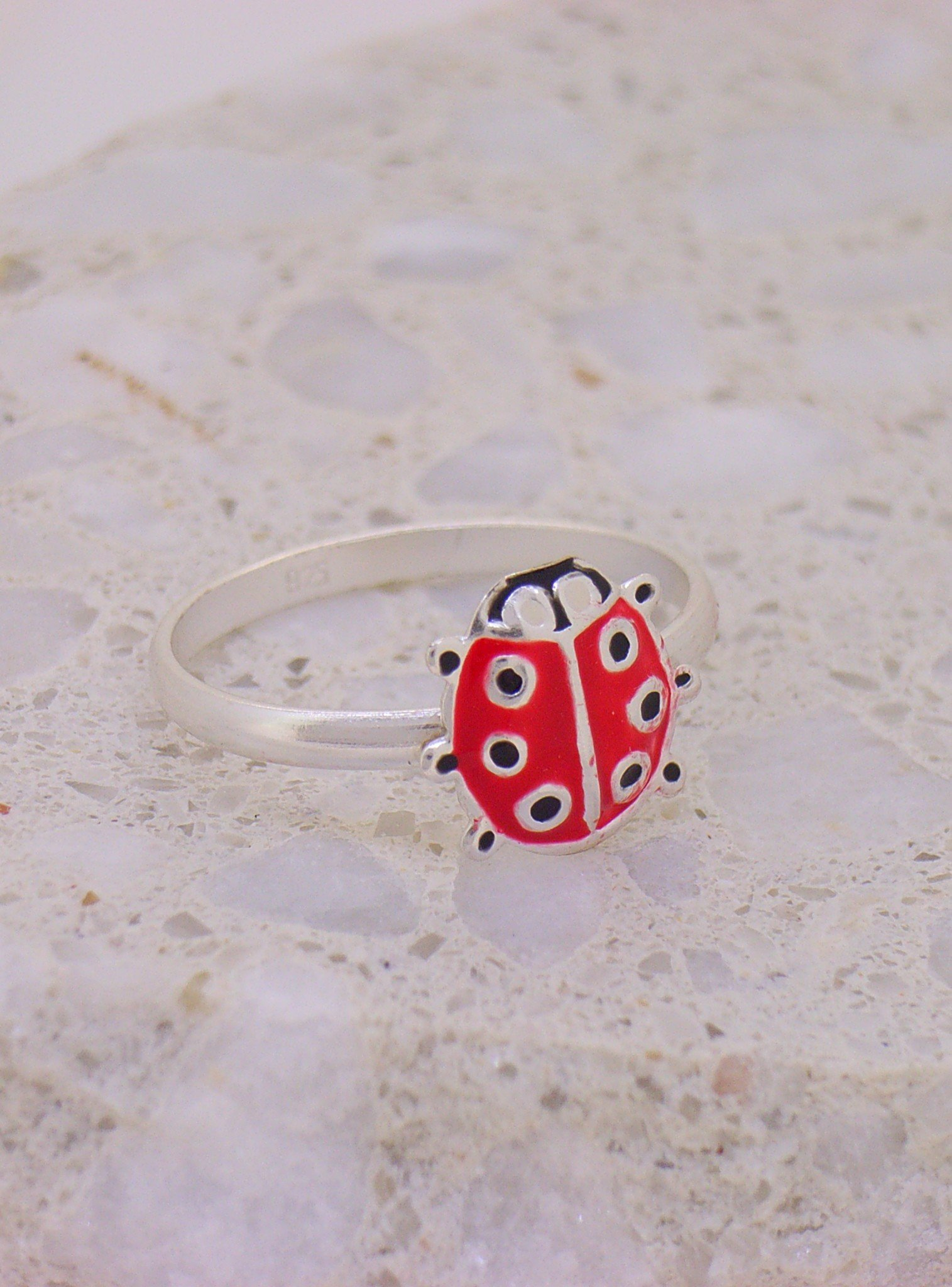 Children's Ladybug Charm Ring in Sterling Silver