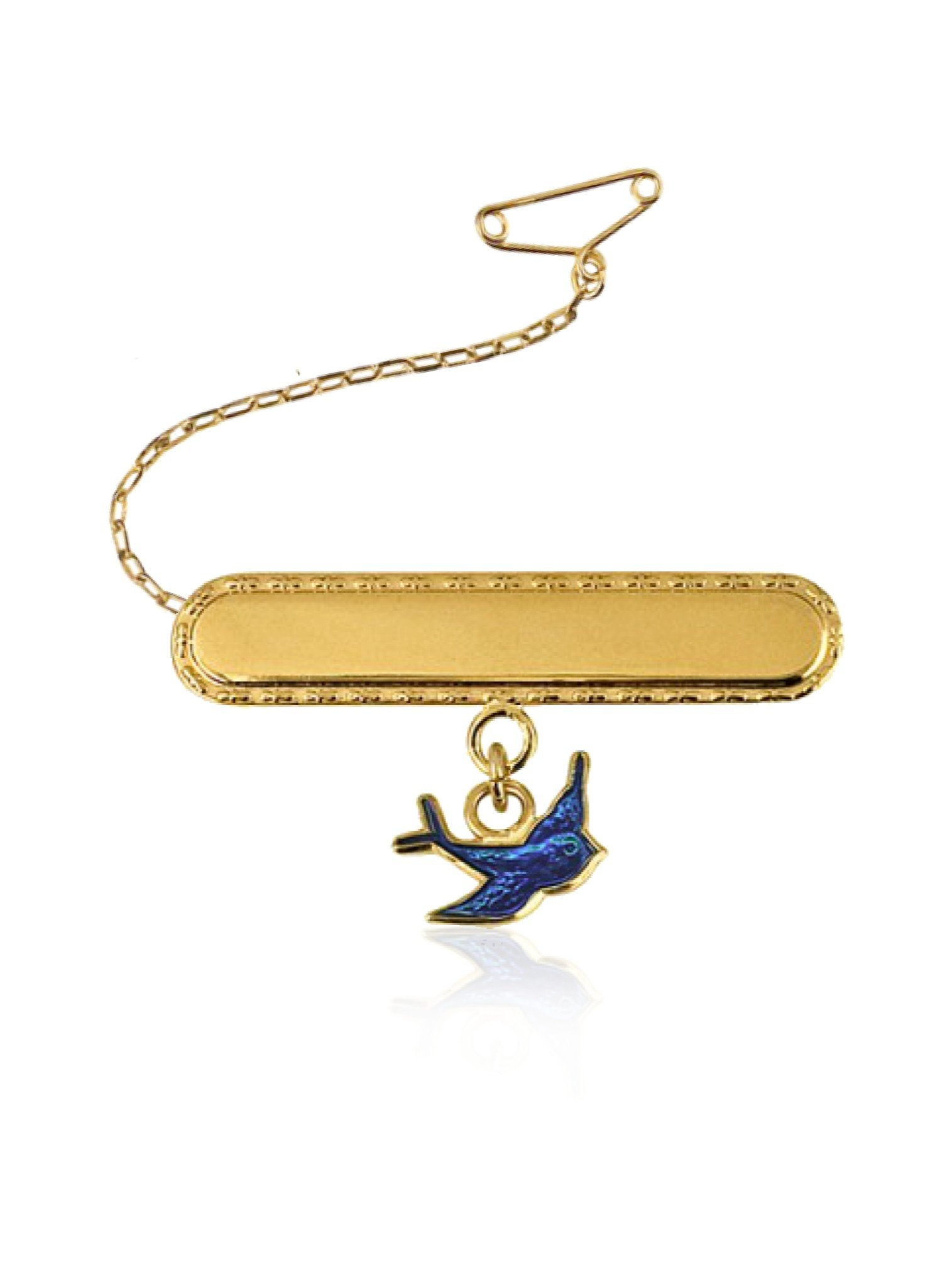 Bluebird Charm Identity Name Baby Brooch in 9ct Gold