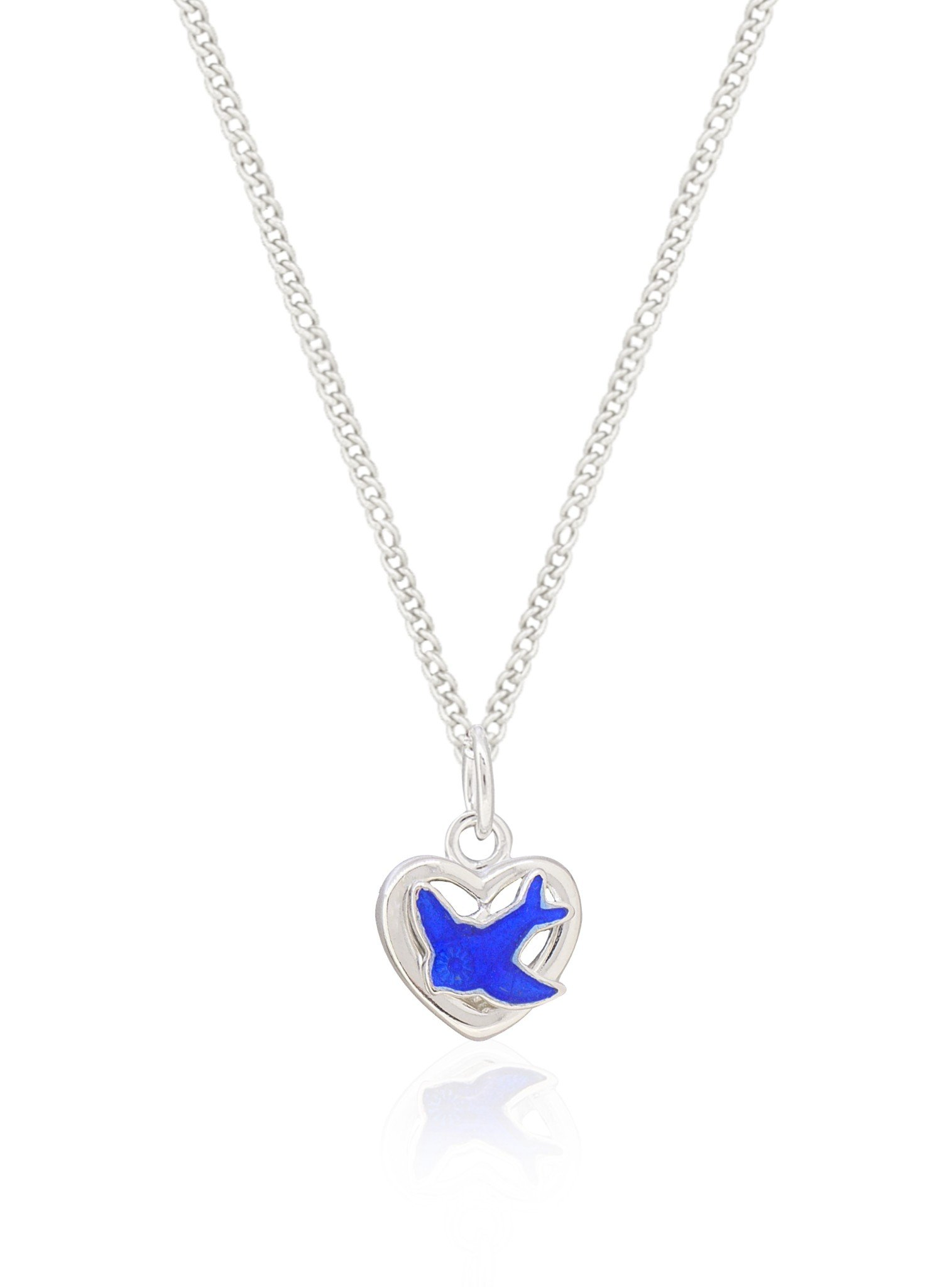 Bluebird Heart Charm Necklace and Earrings Set in Sterling Silver