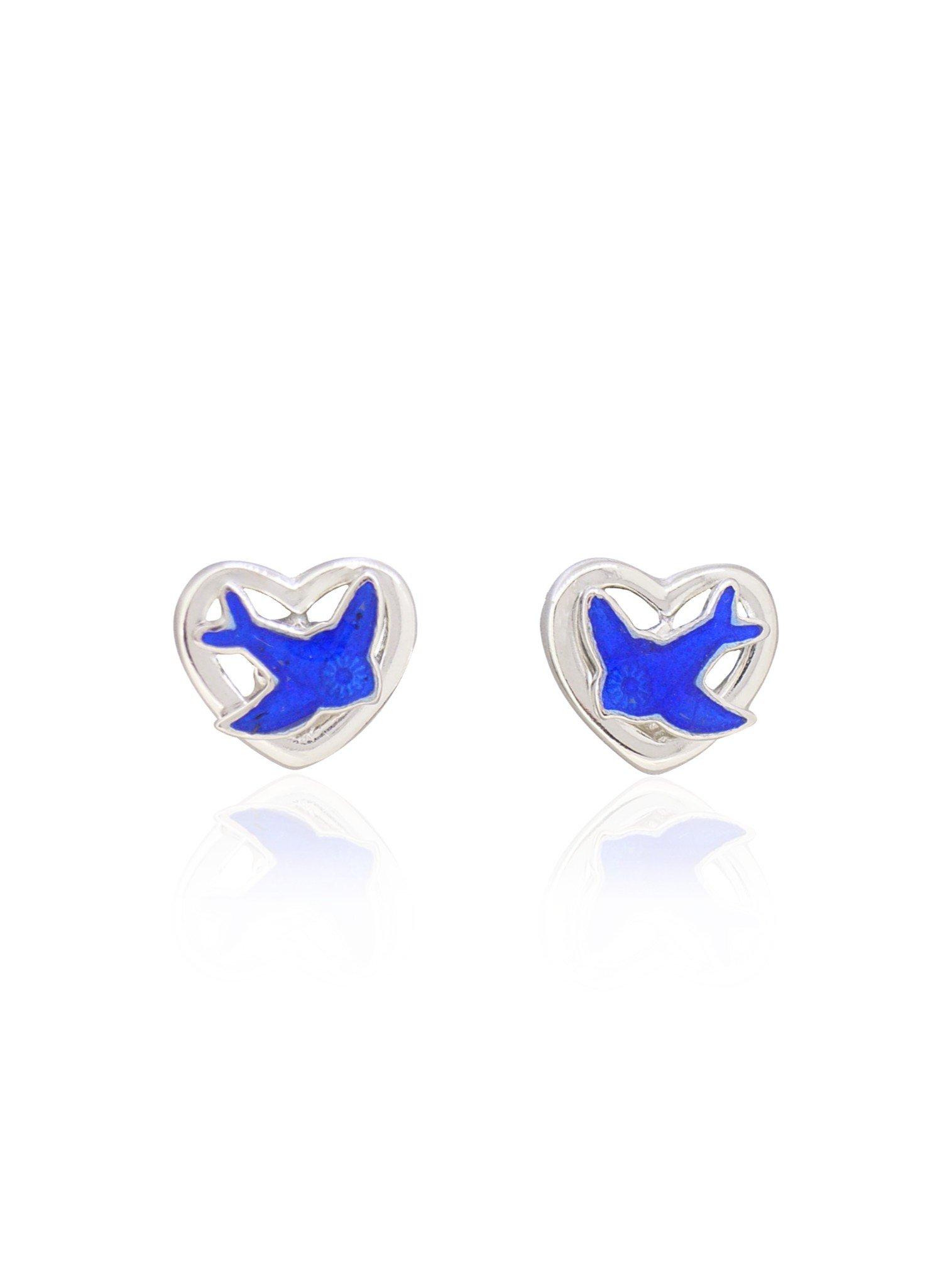 Bluebird Heart Charm Stud Earrings in Sterling Silver