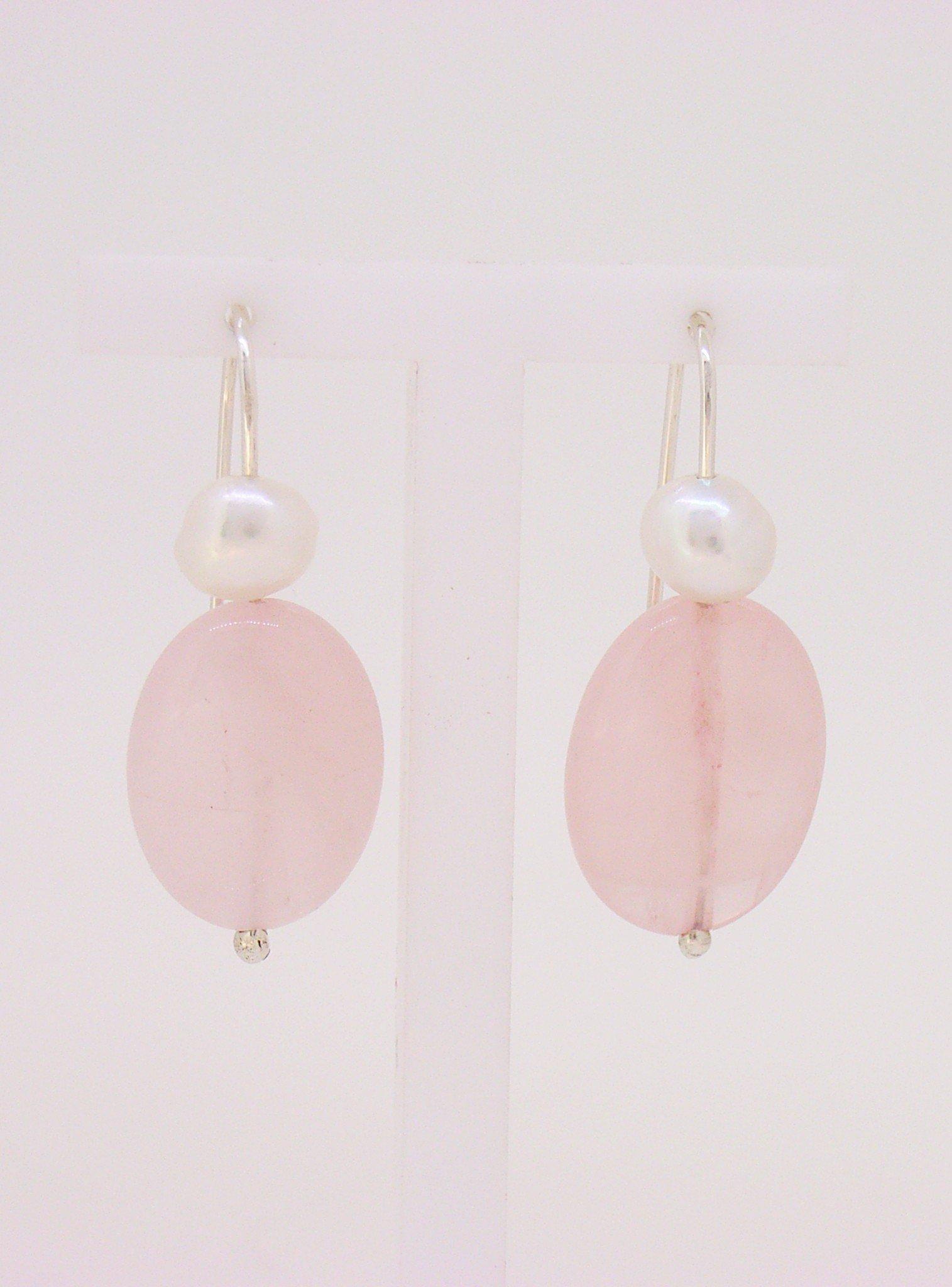 Freshwater Pearl and Rose Quartz Earrings