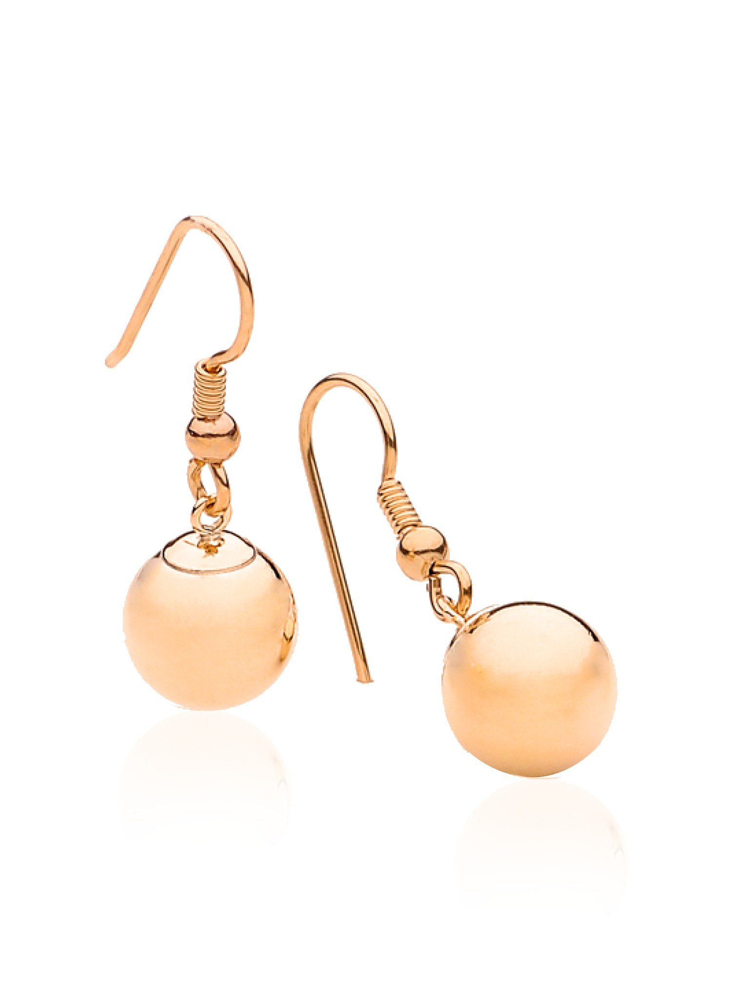 Ball Bead Hook Earrings in Rolled Rose Gold