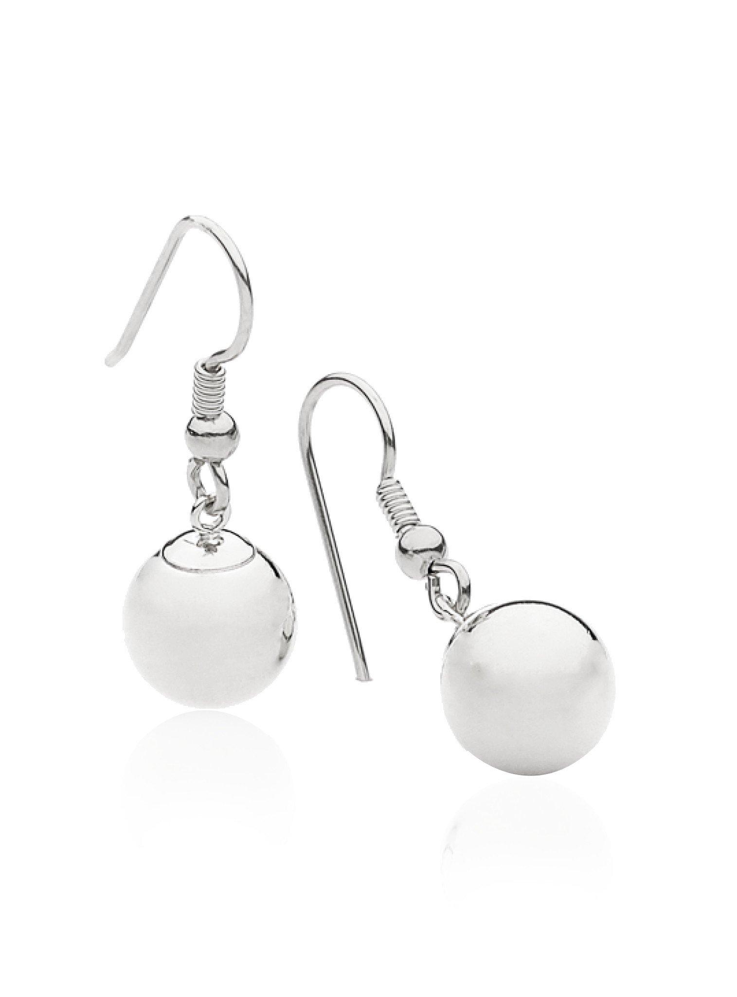 Ball Bead Hook Earrings in Sterling Silver 925