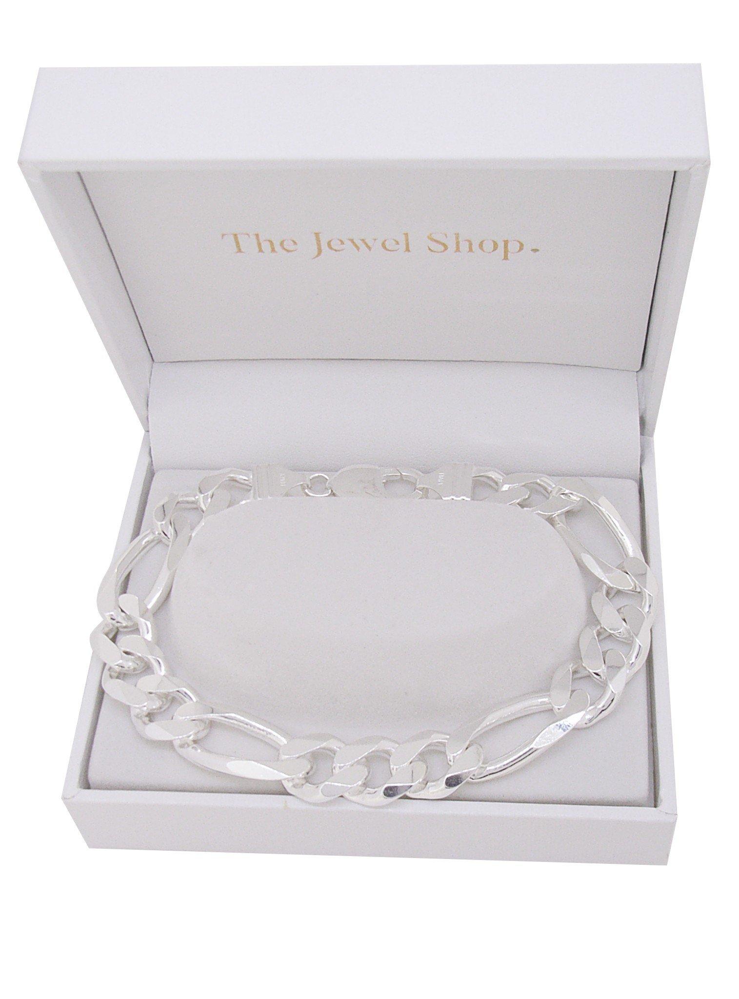 Mens Unisex Heavy Figaro Bracelet in Sterling Silver