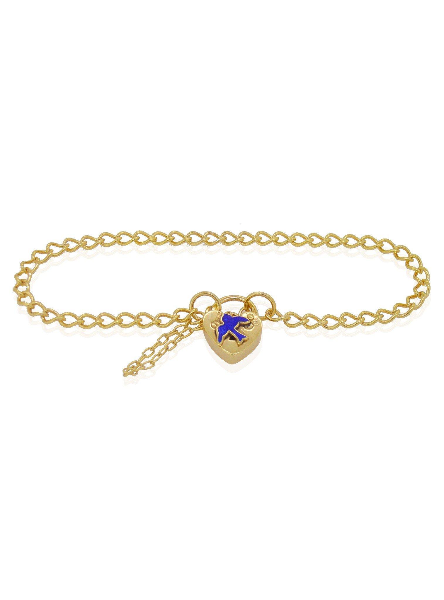 Bluebird of Happiness Curb Padlock Bracelet Gold Plated