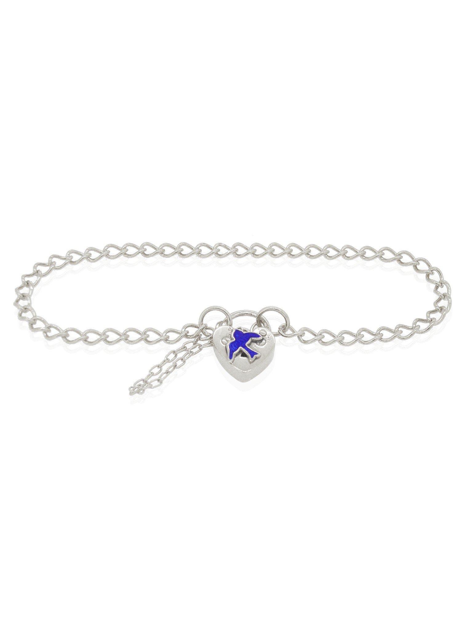 Bluebird of Happiness Curb Padlock Bracelet Sterling Silver