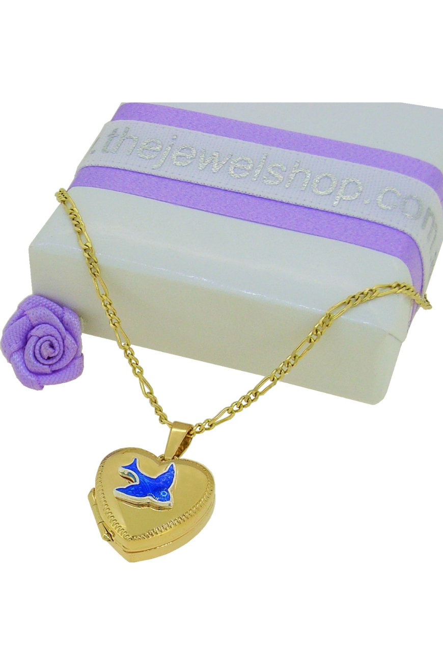 Bluebird Heart Photo Locket Necklace Chain in 9ct Gold