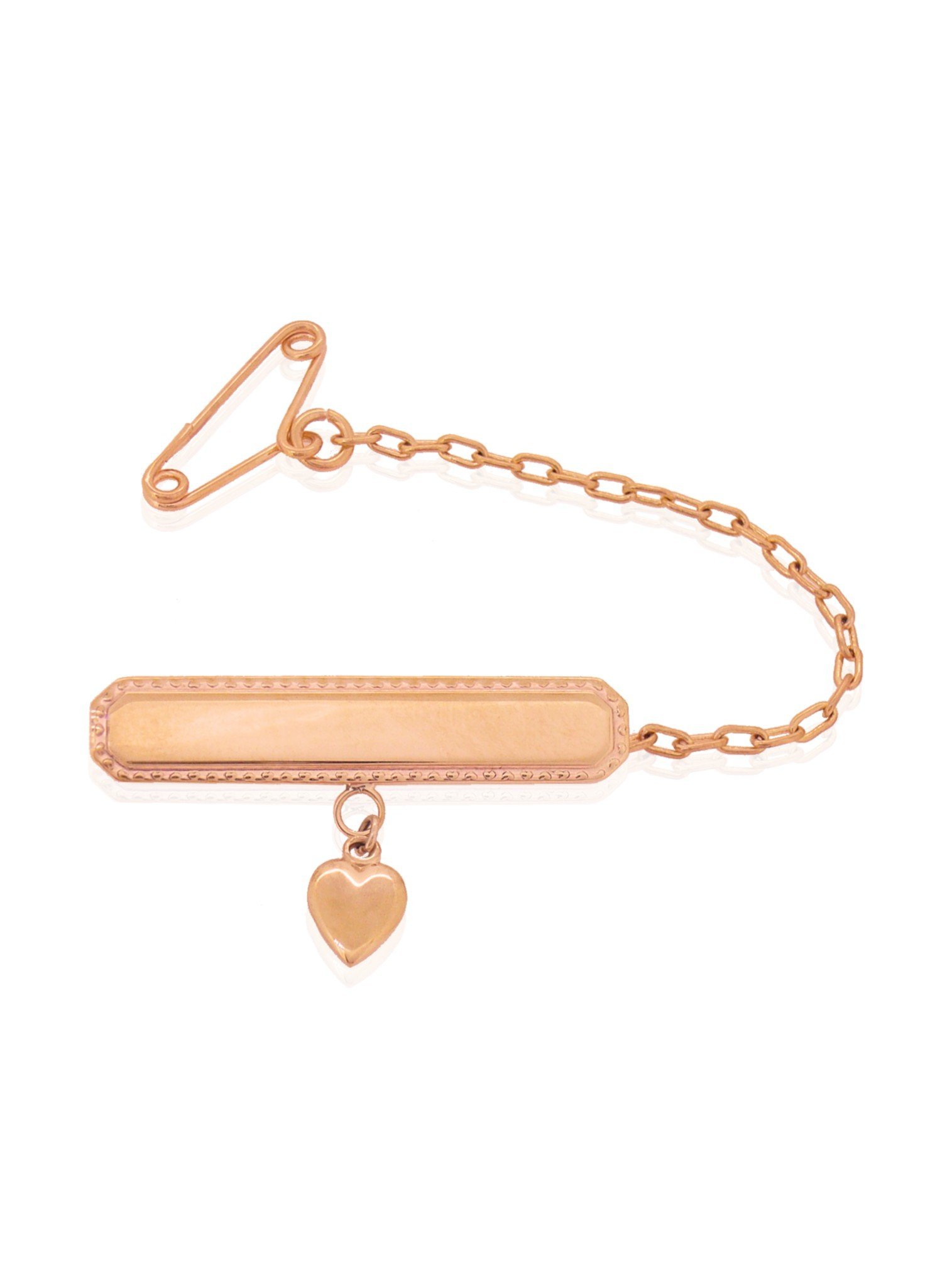 Heart Charm Identity Name Baby Brooch in 9ct Rose Gold