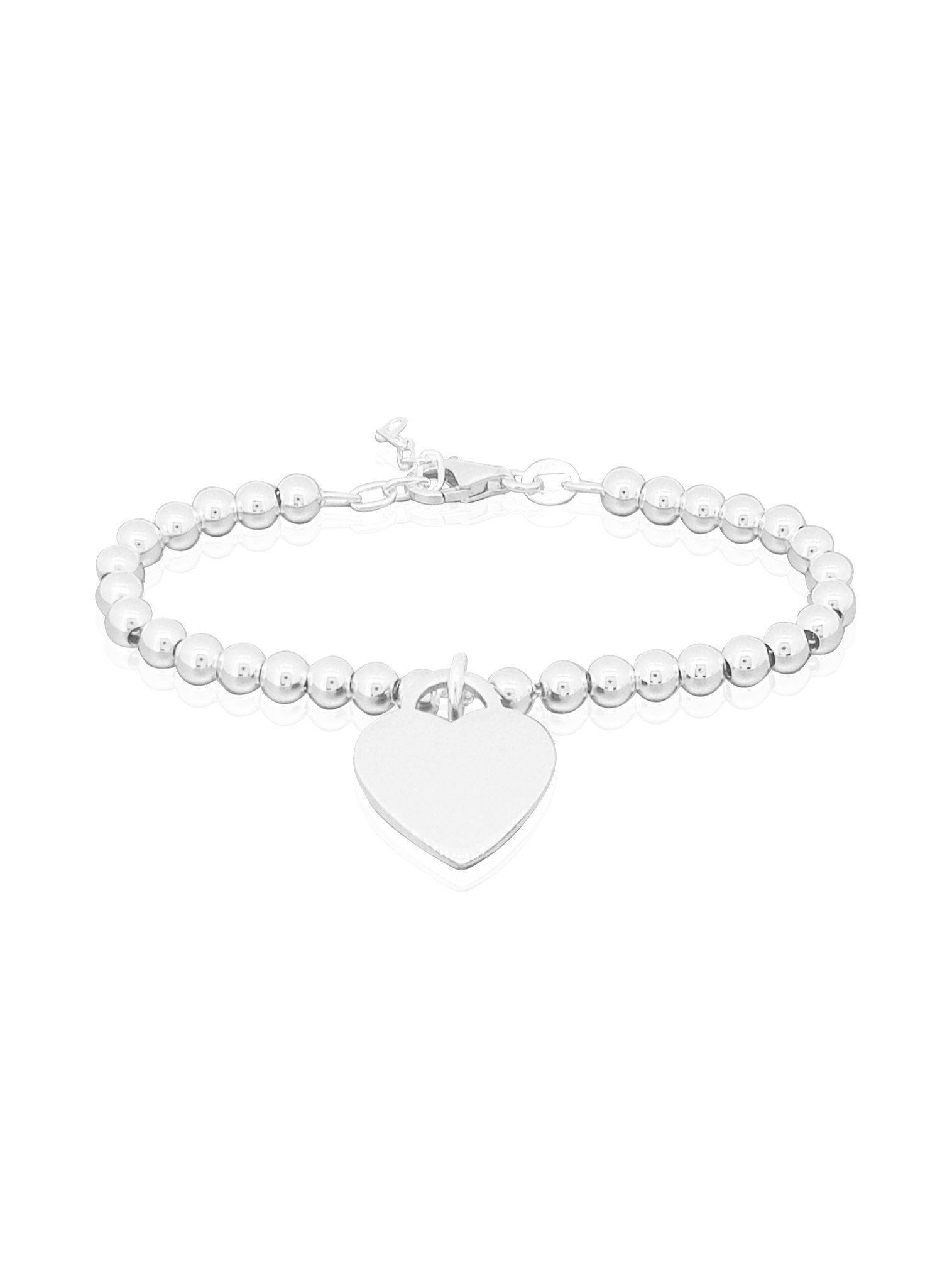 Heart Tag Charm Ball Bead Bracelet in Sterling Silver
