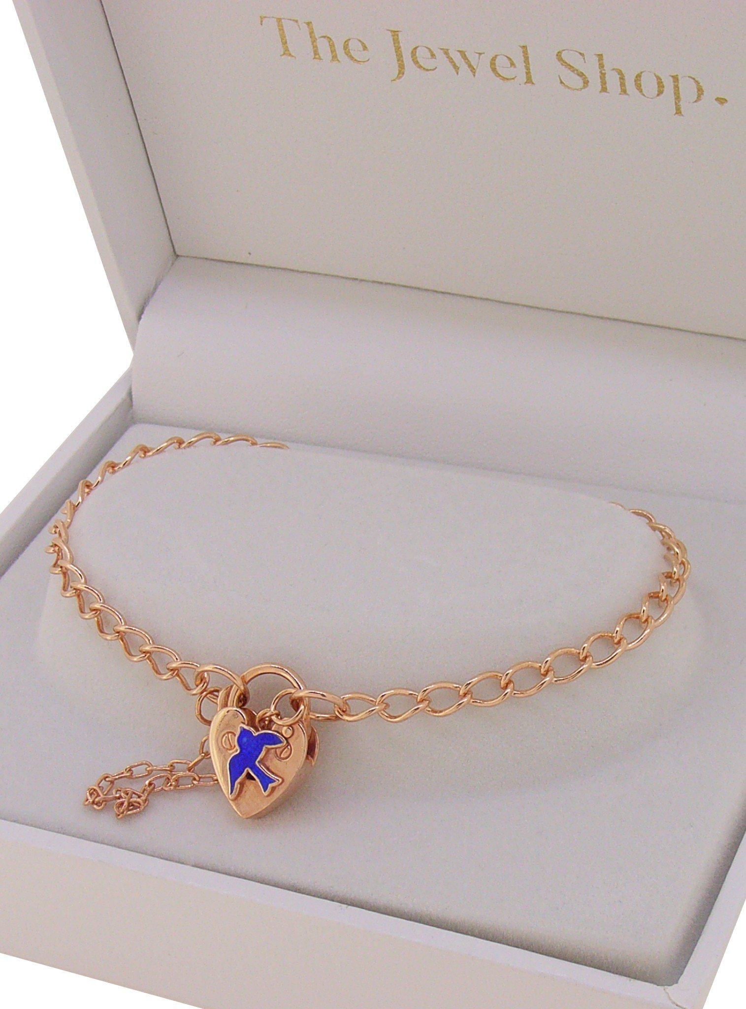 Bluebird of Happiness Curb Padlock Bracelet Rose Gold