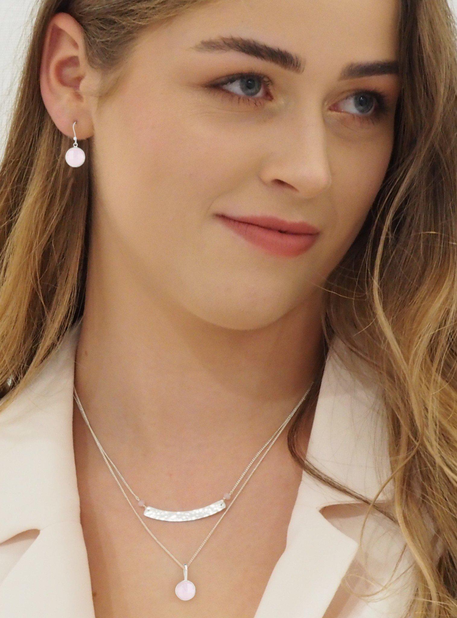 Belle Single Rose Quartz Pendant Necklace