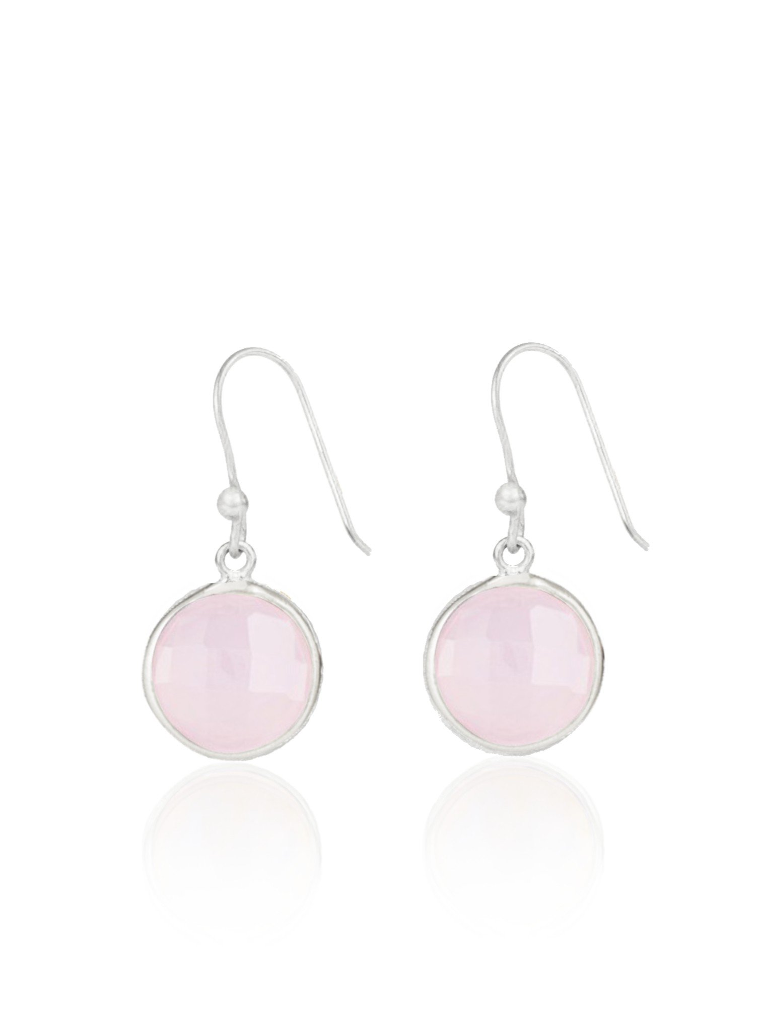 Belle Simple Rose Quartz Earrings in Silver