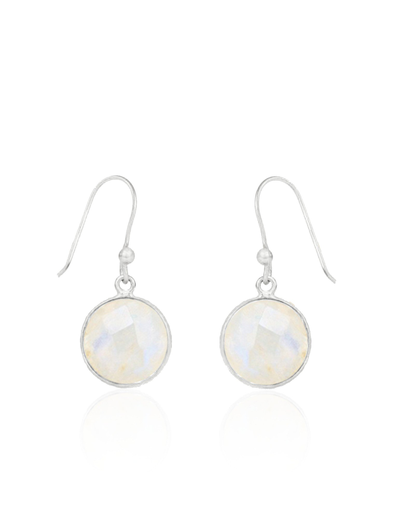 Belle Simple Rainbow Moonstone Earrings in Silver