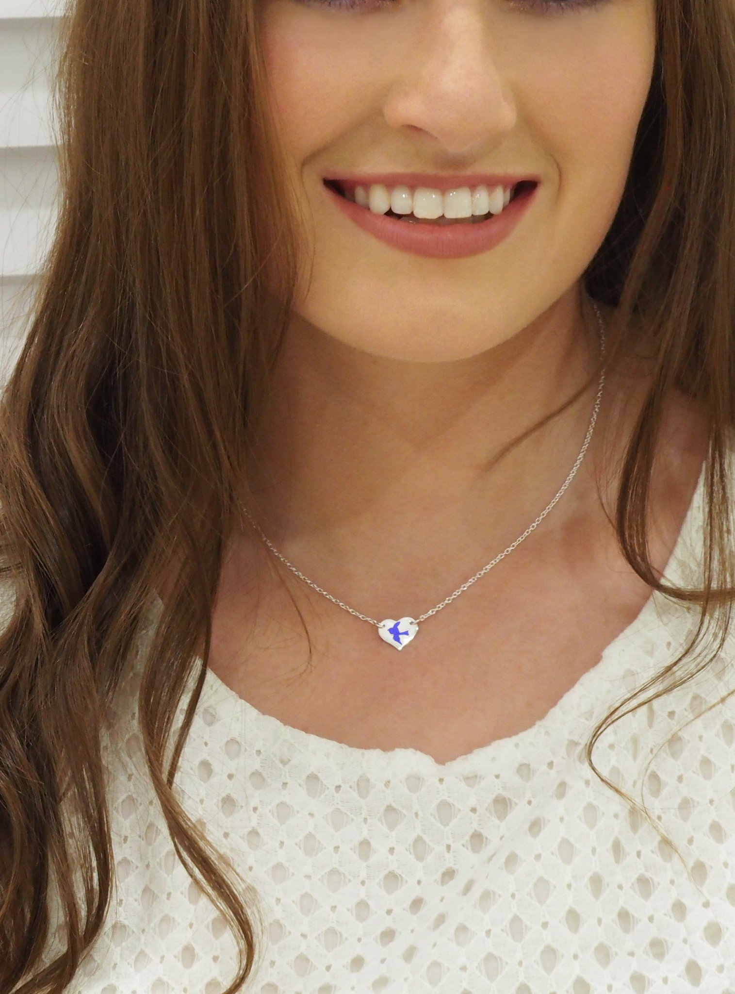 Bluebird Happiness Heart Tag Charm Necklace in 9ct Gold