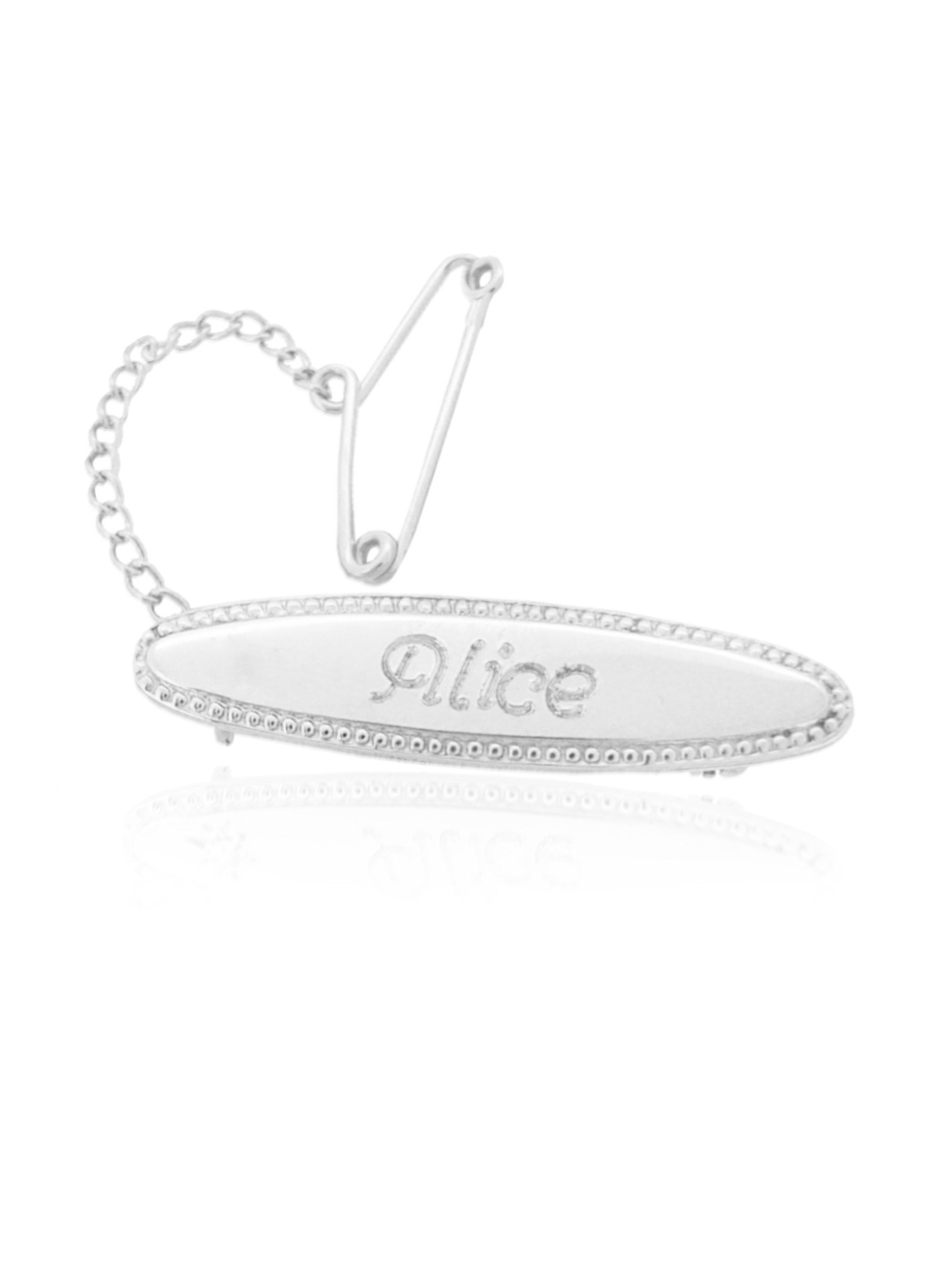 Oval Identity Name Baby Brooch in Sterling Silver