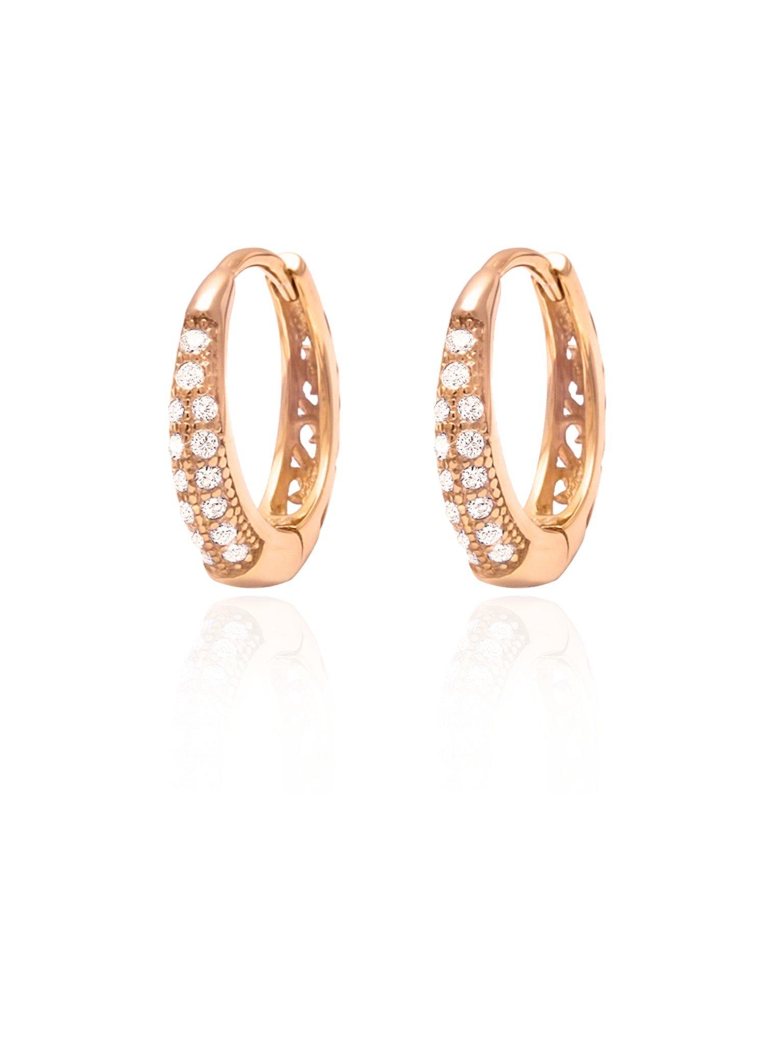 Gigi CZ Huggie Hoop Earrings in Rose Gold