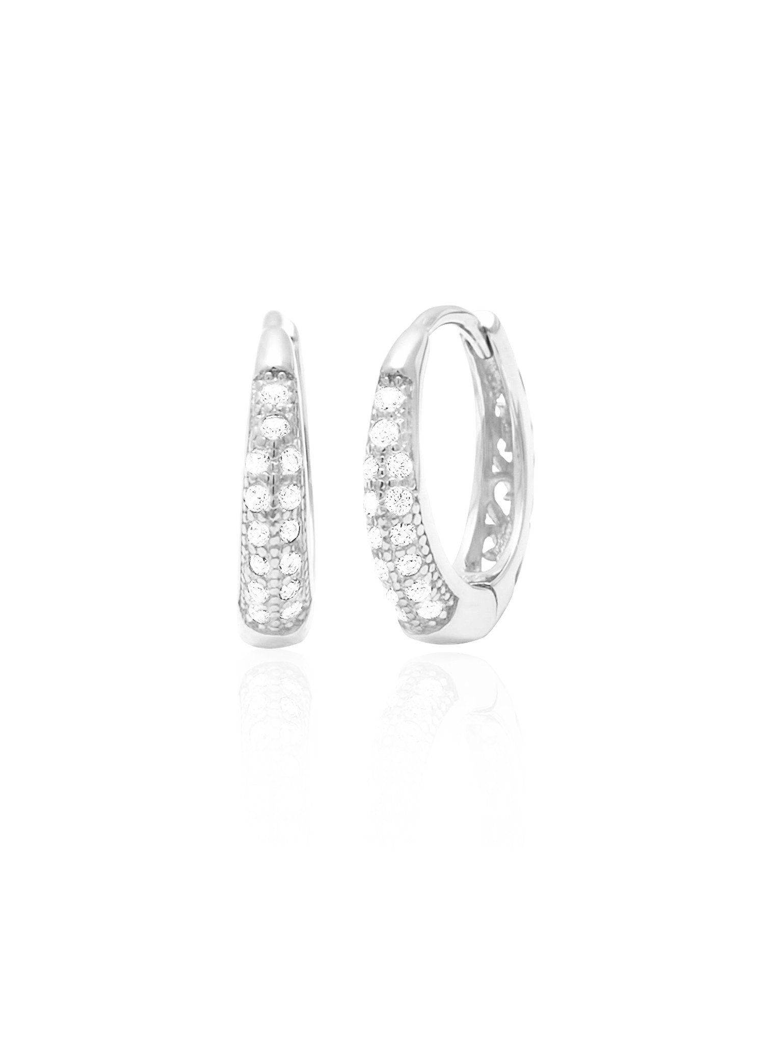 Gigi CZ Huggie Hoop Earrings in Sterling Silver