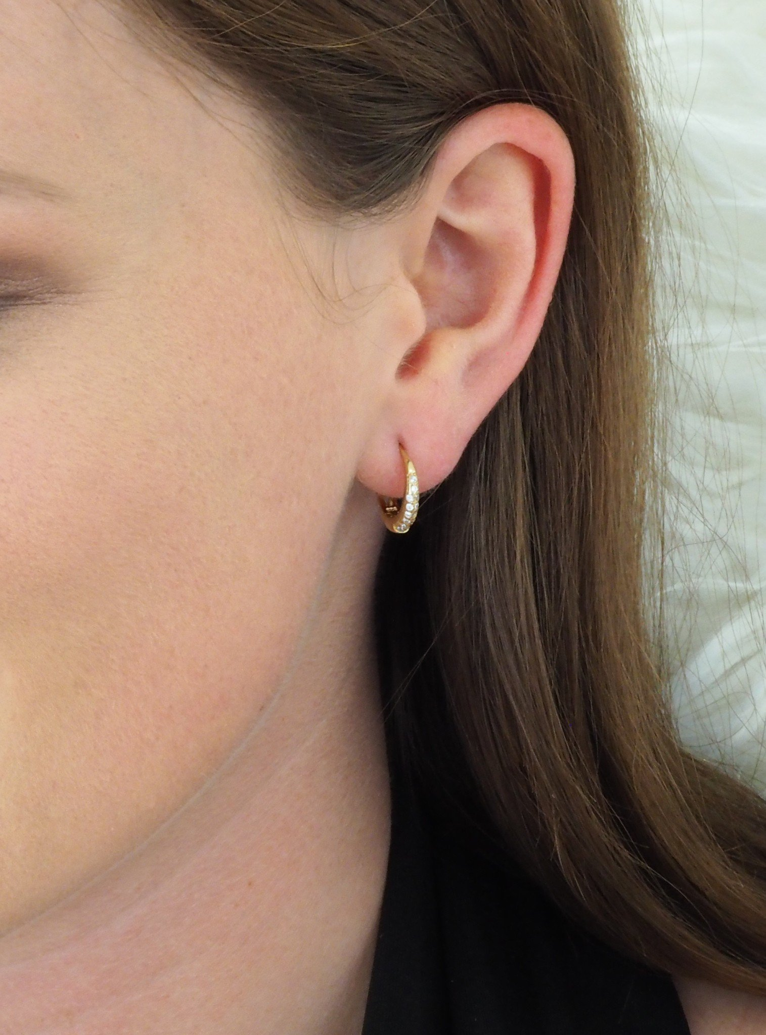 Gigi CZ Huggie Hoop Earrings in Gold
