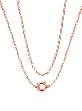 Oval Belcher 2.2mm Chain Necklace with Bolt Ring in 9ct Rose Gold