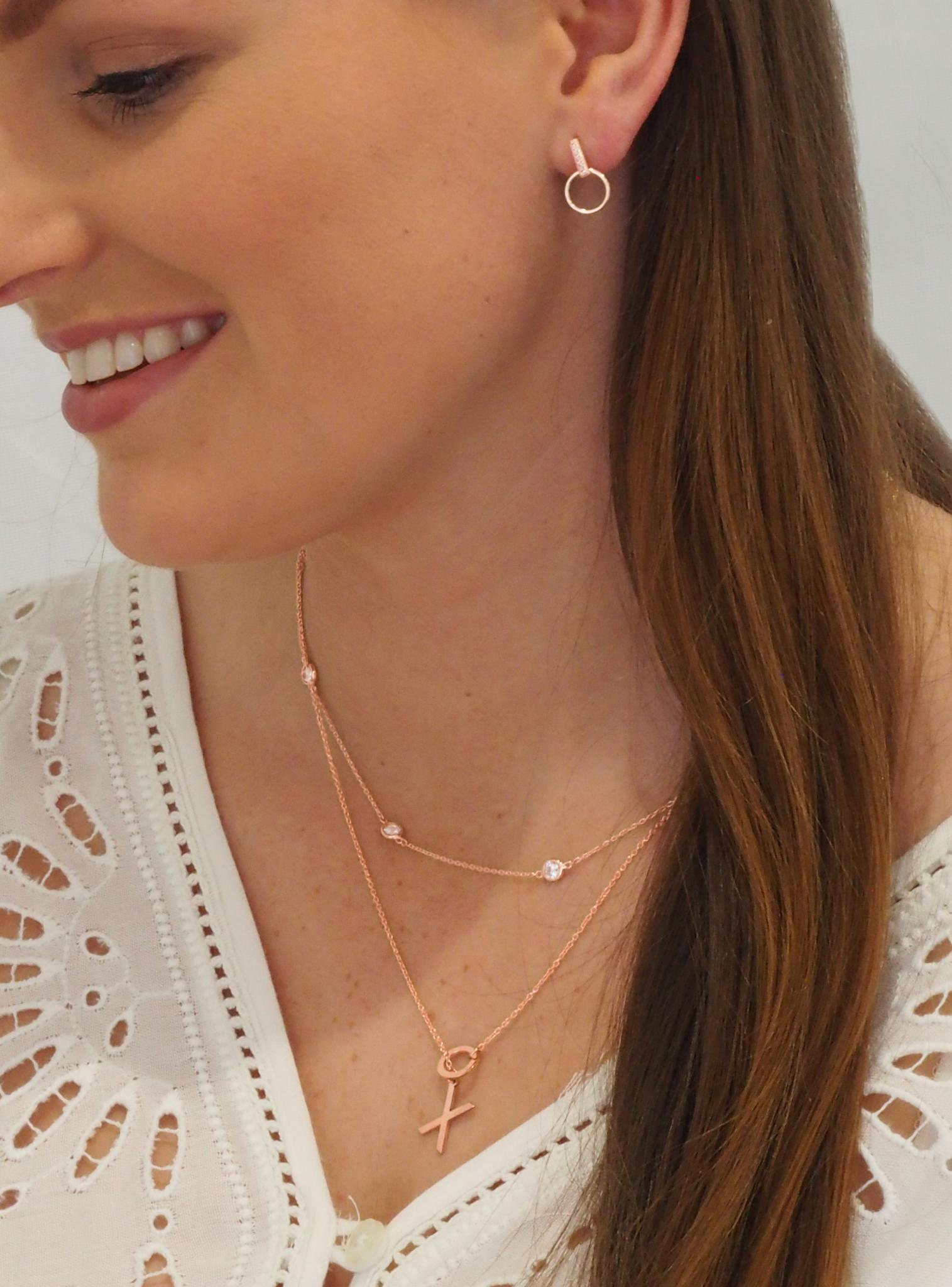 Aurelia Xo Hugs Kisses Charm Necklace In 9ct Rose Gold The Jewel Shop