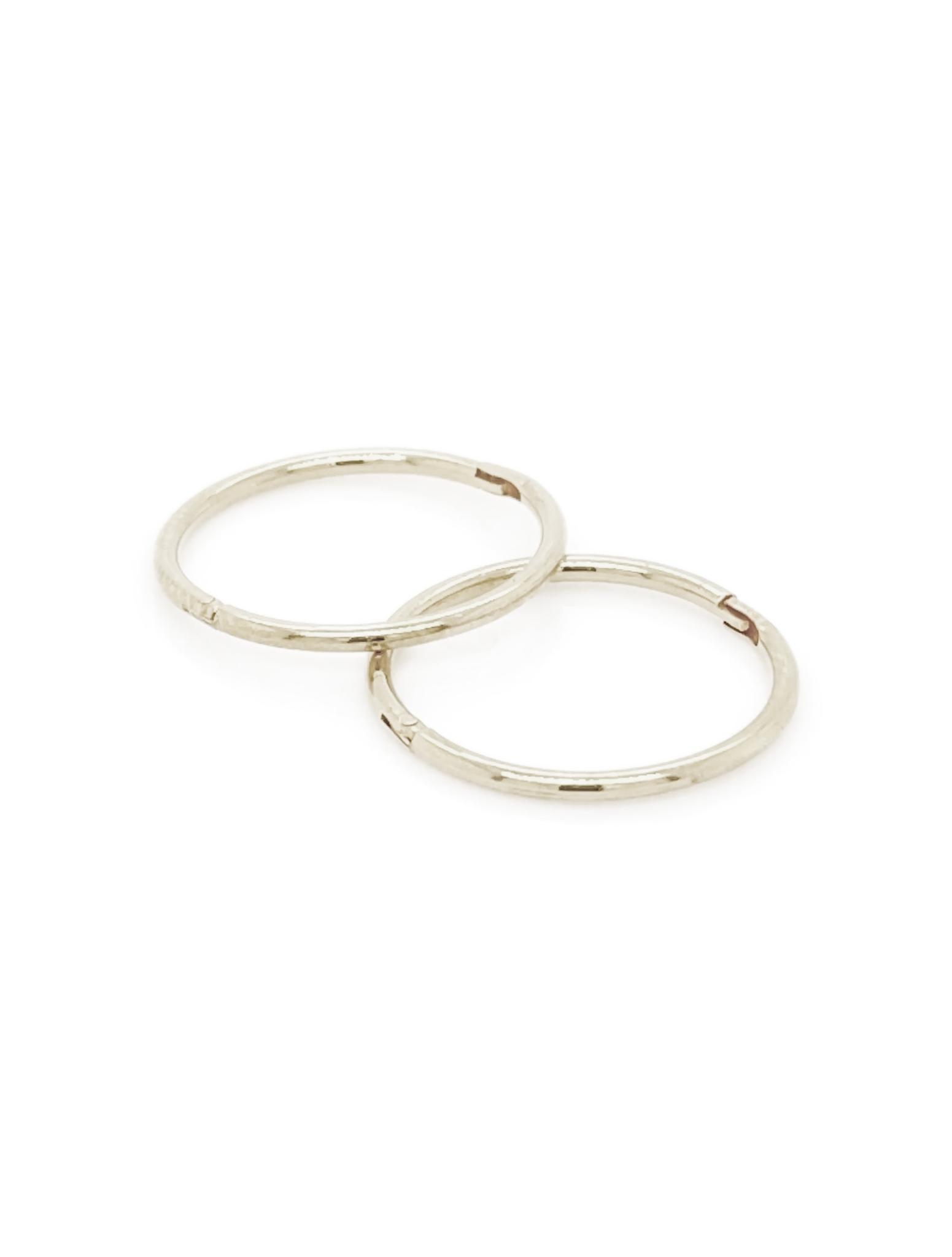 Large Plain Hinged Sleeper Hoop Earrings In 9ct White Gold