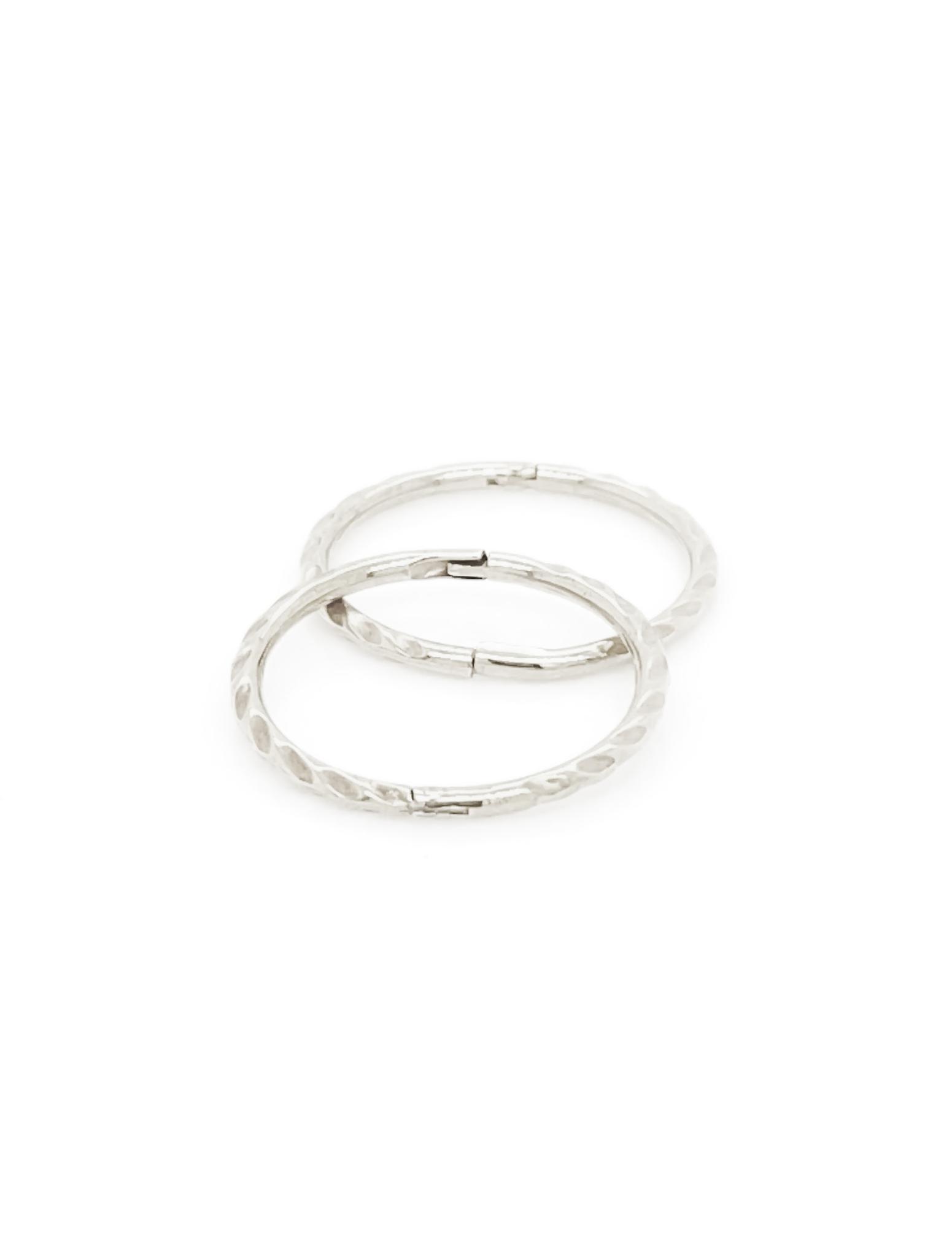 Medium Twist Hinged Sleeper Earrings In Sterling Silver